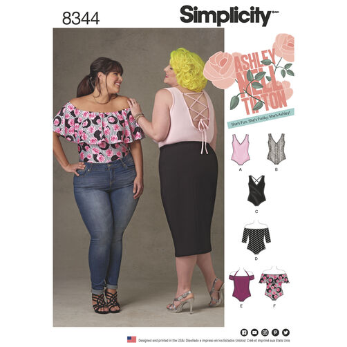 Simplicity Pattern 8344 Plus Size Knit Bodysuits by Ashley Nell Tipton