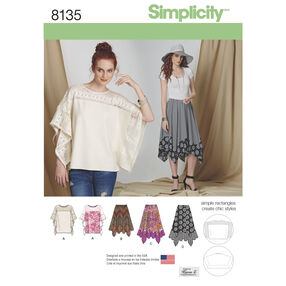Simplicity Pattern 8135 Misses' Easy-to-Sew Skirt in Three Lengths and Tunic