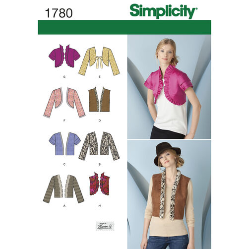 Simplicity Pattern 1780 Misses' Jackets & Vests
