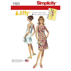 Simplicity Pattern 1101 Misses' Vintage 1960s Jiffy Dress