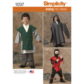 Simplicity Pattern 1037 Boys' Easy To Sew Costumes
