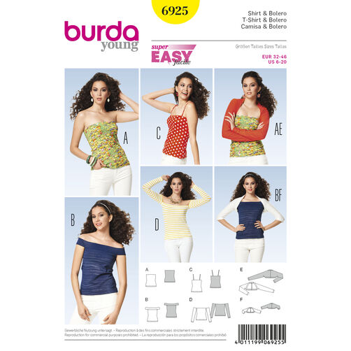 Burda Style Pattern 6925 Tops, Shirts, Blouses