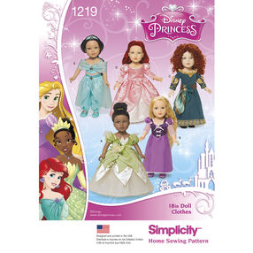 Simplicity Pattern 1219 Disney Princess 18 inch Doll Clothes