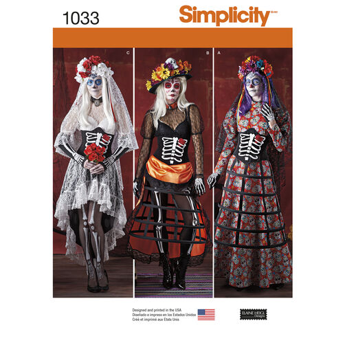 Simplicity Pattern 1033 Misses' Day of the Dead Costumes