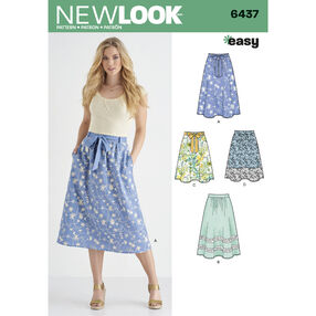 Pattern 6437 Misses' Skirt in Two Lengths with Fabric Variations