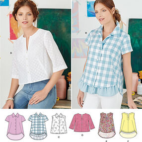 Pattern 8090 Misses' Easy-to-Sew Button Shirt and Pullover Top