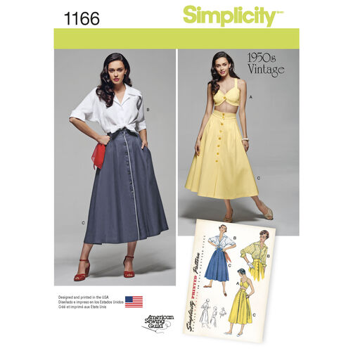 Simplicity Pattern 1166 Misses' Vintage 1950s Blouse, Skirt and Bra Top
