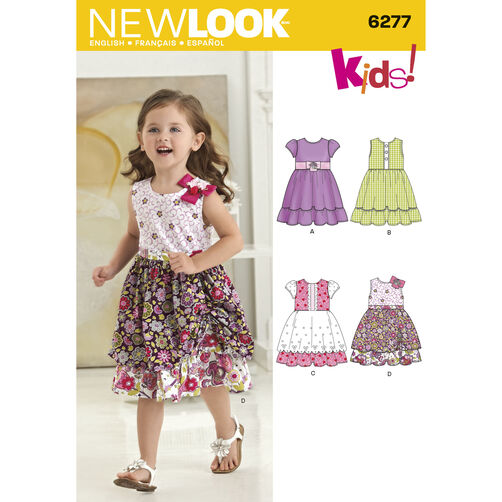 New Look Pattern 6277 Toddlers' Dress with Fabric Variations
