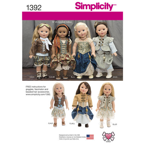 "Simplicity Pattern 1392 Steampunk Costume for 18"" Doll"