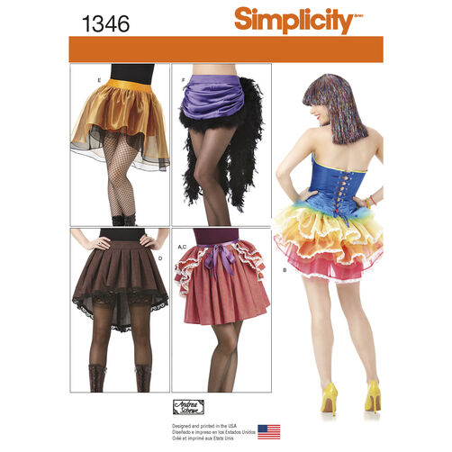 Simplicity Pattern 1346 Misses' Costume Skirts and Bustles
