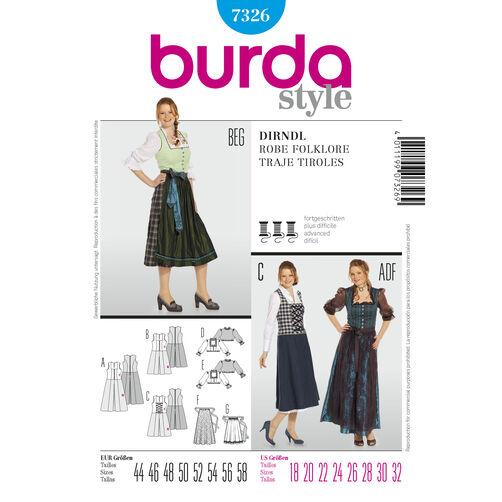 Burda Style Pattern 7326 Dirndl Dress
