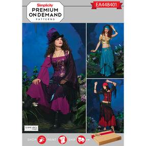 Simplicity Pattern EA448401 Premium Print on Demand Misses' Fortune Teller Costume