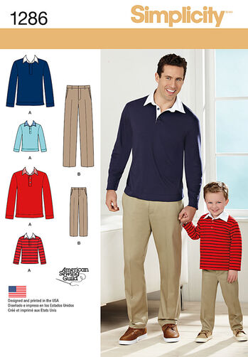 Boys' and Men's Classic Pants and Knit Shirt