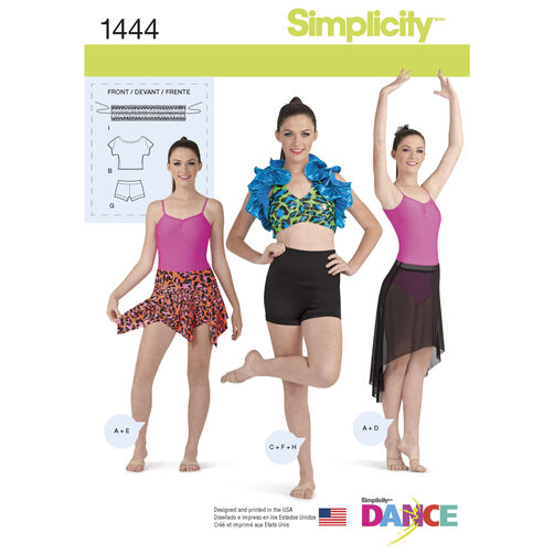 Simplicity Pattern 1444 Misses' Knit Dancewear