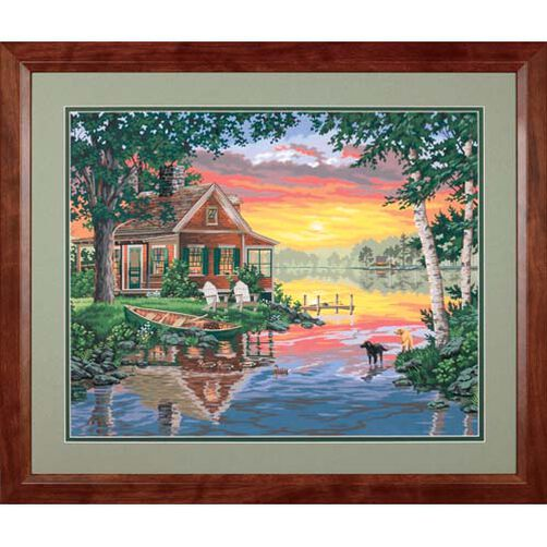 Sunset Cabin, Paint by Number_91315