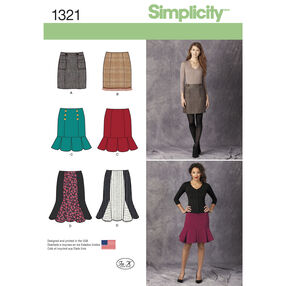 Simplicity Pattern 1321 Misses' Pencil, Flounce & Flared Skirts