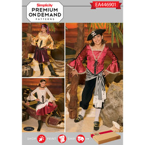 Simplicity Pattern EA446901 Premium Print on Demand Girls' Pirate Costumes