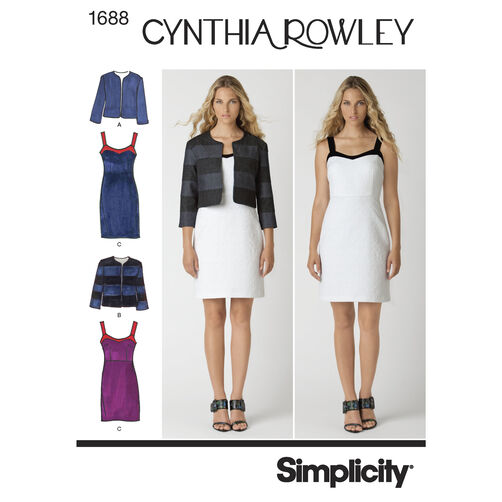 Simplicity Pattern 1688 Misses' Dress and Jacket Cynthia Rowley Collection