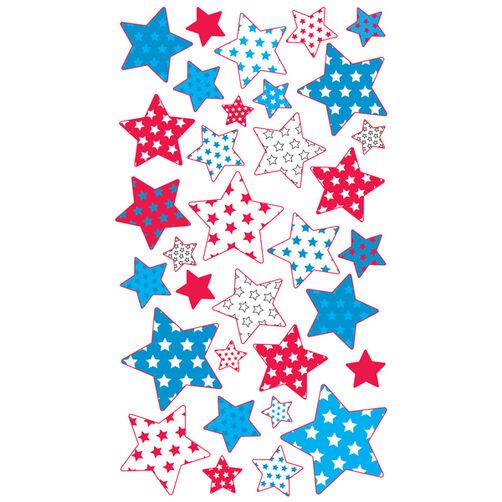 Red White Blue Stars  Metallic Stickers_52-00279