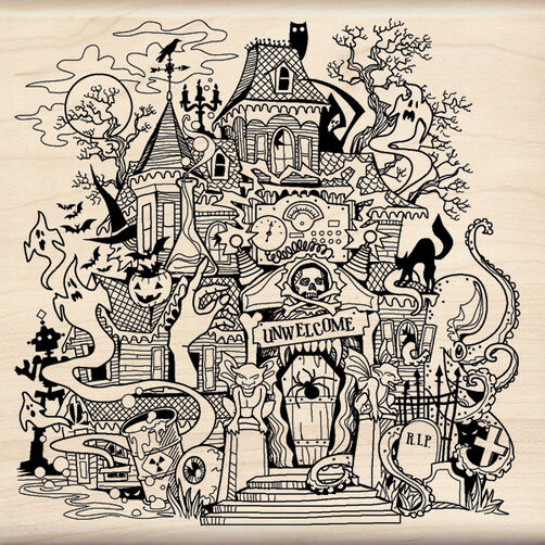 Haunted House Wood Stamp_60-00919