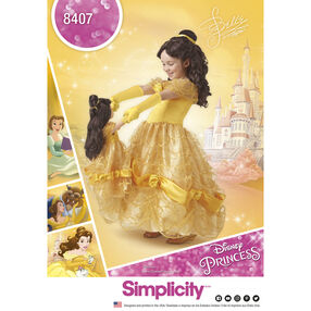 "Simplicity Pattern 8407 Disney Beauty and the Beast Costume for Child and 18"" Doll"