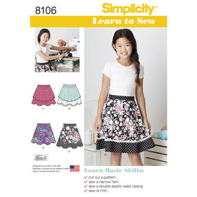 Simplicity Pattern 8106 Learn To Sew Skirts for Girls and Girls Plus