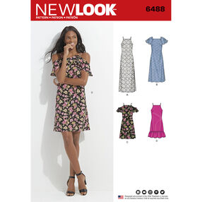 New Look Pattern 6488 Misses' Dress with Length and Sleeve Variations