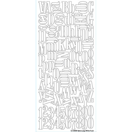 Alpha Large White Foam Stickers_52-50008