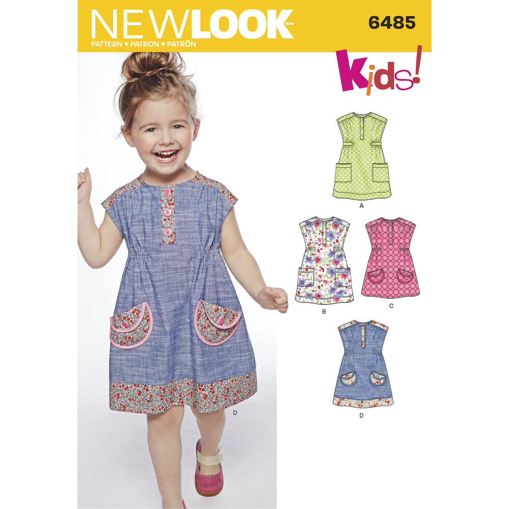 New look pattern 6485 toddlers 39 dress or tunic with fabric for Kids dress fabric