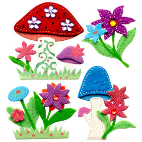 Colorful Stitched Mushrooms Stickers_50-21294