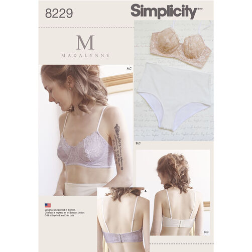 Simplicity Pattern 8229 Misses' Underwire Bras and Panties
