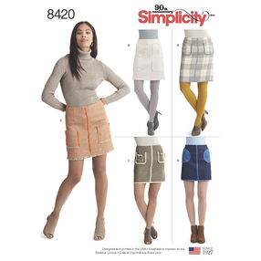 Pattern 8420 Misses' Skirts in Two Lengths with Pockets and Trim Variations
