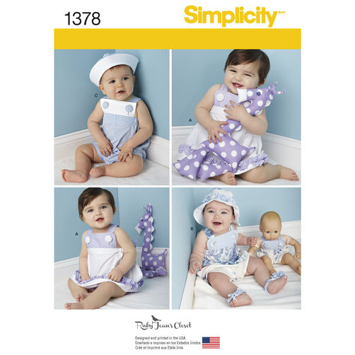 Simplicity Pattern 1378 Babies' Outfit with Doll Clothes & Accessories