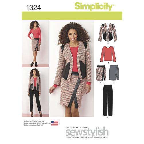 Simplicity Pattern 1324 Misses' Slim Pants, Skirt, Jacket & Knit  Top