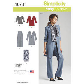 Simplicity Pattern 1073 Misses' Pants, Coat or Jacket, Scarf and Knit Top