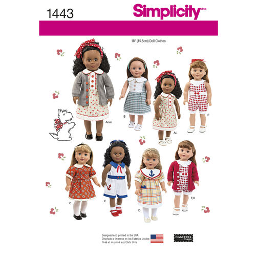 "Simplicity Pattern 1443 18"" Doll Clothes"