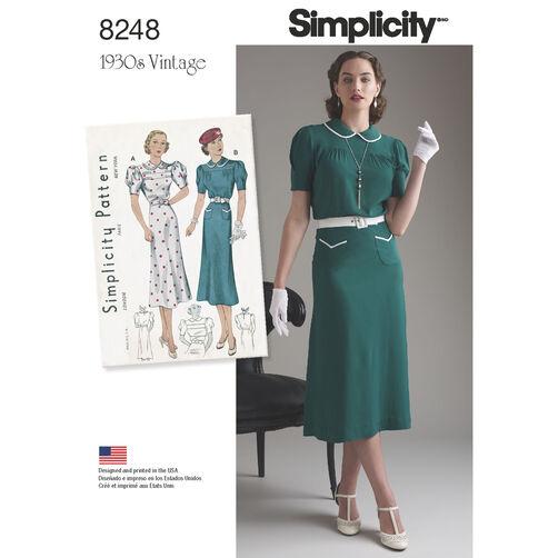 Simplicity Pattern 8248 Misses' Vintage 1930s Dresses