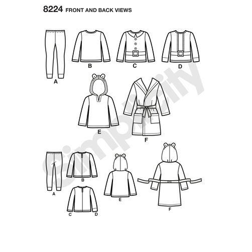 Simplicity Pattern 8224 Toddler's Robe and Knit Pants and Tops
