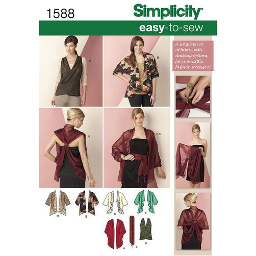 Simplicity Pattern 1588 Kimono Jacket & Wrap Size XS-XXL