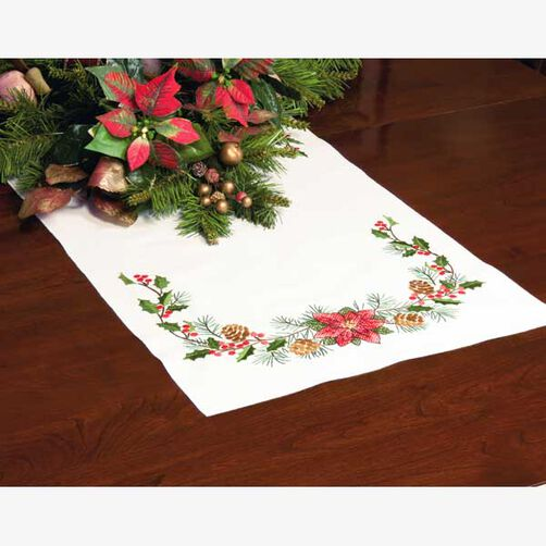 Christmas Greens Table Runner in Stamped Cross Stitch_72-08910