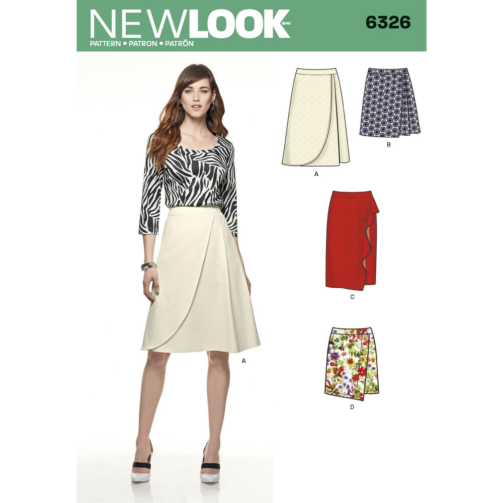 misses mock wrap skirt with front and length variations