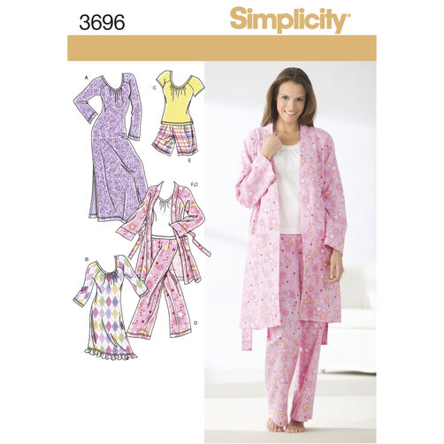 Simplicity Pattern 3696 Misses' Sleepwear