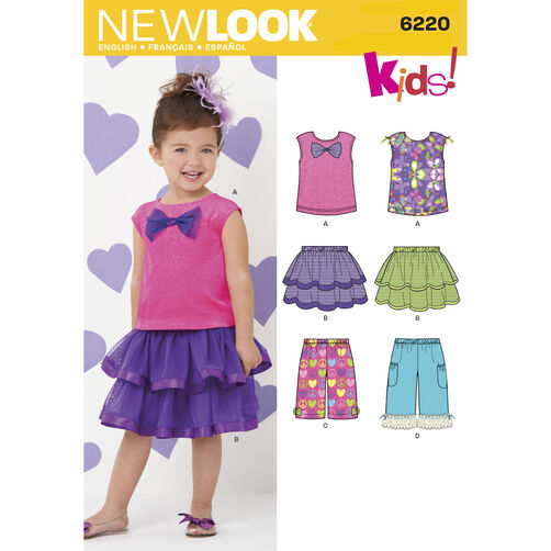 New Look Pattern 6220 Toddlers' Skirt, Pants and Knit Top