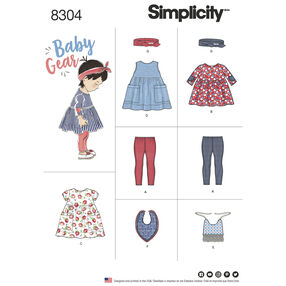 Simplicity Pattern 8304 Babies' Leggings, Top, Dress, Bibs and Headband