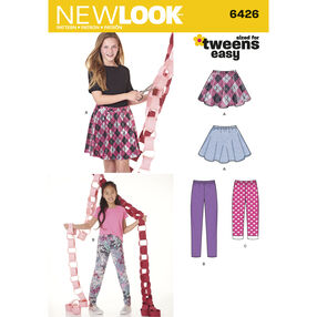 New Look Pattern 6426 Girls' Pants in Two Lengths and Skirt