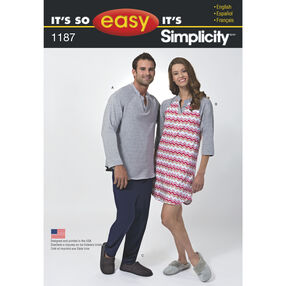 It's So Easy Pattern 1187 Unisex Sleepwear