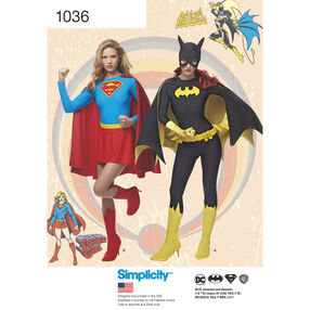Simplicity Pattern 1036 Misses' Supergirl and Batgirl Costumes