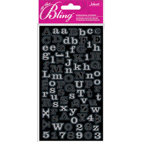 Bling - Silver Mini Foil Alphabet Dimensional Stickers_50-50103