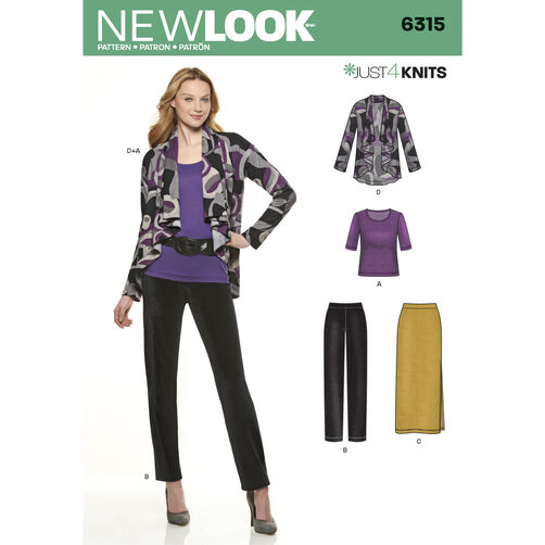 New Look Pattern 6315 Misses' Knit Pants, Skirt, Top and Jacket