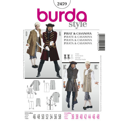 Burda Style Pattern 2459 Pirate & Casanova